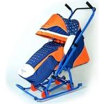 Санки коляска Скользяшки 0913-P14 Мозаика синий-оранжевый-белый