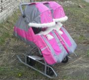Санки-коляска для двойни (розовая)
