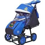 Санки коляска GALAXY SNOW City-2 Зелёный Мишка на синем на больших колёсах Ева+сумка+варежки