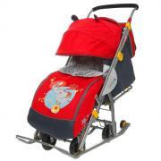 Санки-коляска «Ника детям 7 - девочка и слон» с выдвижными колёсами, цвет красный