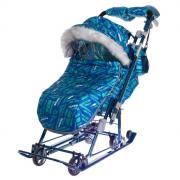 Санки-коляска «Ника детям 7-8S», цвет спортивный синий