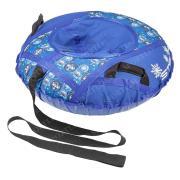 Санки надувные 80 см STELS Тюбинг ткань с рисунком без камеры СН030 синий/руль и панель приборов