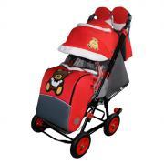 Санки-коляска Galaxy Snow City-1 Мишка с бабочкой на больших колёсах