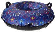 Санки надувные 90 см STELS Тюбинг ткань с рисунком без камеры СН030 фиолетовый/разноцветные звезды