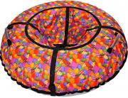 Санки надувные 80 см STELS Тюбинг ткань с рисунком без камеры СН030 серый/разноцветные леденцы