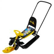 Снегокат с колёсами Тимка спорт 6, «Граффити», цвет чёрный/жёлтый