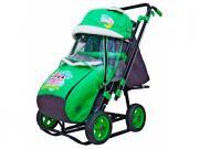 Санки-коляска Galaxy City-2 Совушки на зелёном
