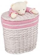 Корзина для хранения игрушек Natural House Медвежонок розовый М