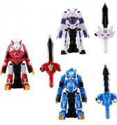 Набор из 3 трансформеров Битроиды Драка, Монча, Лео (Monkart) красный, синий, фиолетовый