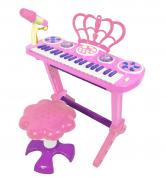 Детское пианино со стульчиком (2669-3708) розовое, 32 клавиши