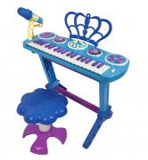 Детское пианино со стульчиком (2669-3708) голубое, 32 клавиши