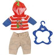 Zapf Creation Baby born Одежда для мальчика 824-535 (кофта красная в полоску, брюки беж)