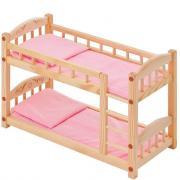 Кукольная кроватка Paremo из дерева, двухъярусная, розовый текстиль PFD116-04