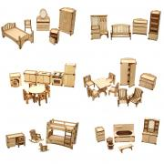 Набор из 6 комплектов мебели для кукольного домика