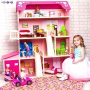 Paremo Деревянный дом Барби – Нежность, 28 предметов мебели, 2 лестницы, гараж