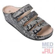 LM-503.036 Обувь ортопедическая малосложная LM ORTOPEDIC, хром газета, жен.