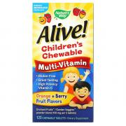 Nature's Way Nature's Way, Alive! жевательные детские мультивитамины, апельсин и ягоды, 120 таб