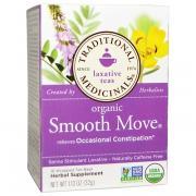 Слабительные сборы, органическое слабительное средство Smooth Move, слабительный стимулятор на основе сенны, натуральный травяной чай, не содержащий кофеина, 16 пакетиков в упаковке, 1,13 унции (32 г)