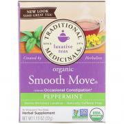 Органический мятный чай Smooth Move Peppermint, без кофеина, 16 пакетиков, 1.13 унц. (32 г)
