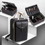Бьюти кейс - рюкзак визажиста, бровиста. 41х30х18 см. Цвет черный + золото