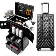 Профессиональный чемодан для парикмахеров и стилистов 850х380х250 мм. Цвет черный, Принт ромб.