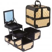 Кейс для косметики и аксессуаров с зеркалом 185*185*205 мм Цвет золото