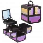 Кейс для косметики и аксессуаров с зеркалом 185*185*205 мм Цвет перламутр