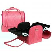 Сумка мастера (визажиста, стилиста, бровиста) 30х23х26 см. Цвет розовый крокодил.