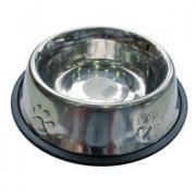 Миска для животных ХОРОШКА Embossed SS Non Tip металлическая, для корма и воды 0,7л