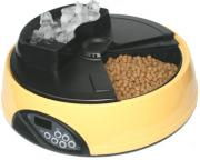Автокормушка на 4 кормления для сухого корма и консервов, с емкостью для льда, желтая