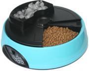 Автокормушка на 4 кормления для сухого корма и консервов, с емкостью для льда, голубая
