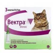 Капли для кошек CEVA Вектра Фелис инсектоакарицидные 0,9мл, 3 пипетки