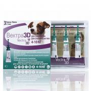 Капли для собак CEVA Вектра 3D 4-10кг инсектоакарицидные 1,6мл, 3 пипетки
