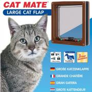 ROSEWOOD Дверь для кошек CAT MATE на перегородки до 50мм, коричневая, 235х252мм