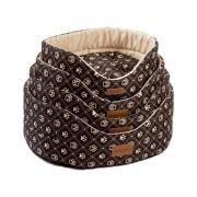 Лежак для собак KATSU Yohanka shine Dog Paws бежево-коричневый, размер 2 46х32х18см