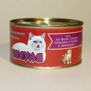 """Кисуля консервы для кошек Рагу из """"Филе грудки кролика с рисом и овощами""""."""