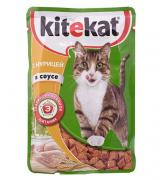 """Корм для кошек """"Китекат"""" с курицей в соусе 85гр"""