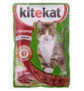 """Корм для кошек """"Китекат"""" с говядиной в соусе 85гр"""
