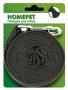 Поводок для собак HOMEPET 25 ммх7 м брезентовый с карабином, арт.5125389
