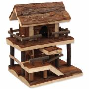 Домик для грызунов двухэтажный дерево с корой 17*15*20см Small Animals