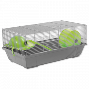 Клетка для грызунов Эрик серая с зелеными аксессуарами 50,5*28*25см Small Animals