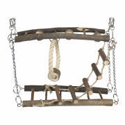 """DUVO+ Игровой комплекс для грызунов деревянный """"Подвесной мост"""", коричневый, 27x17x7см"""