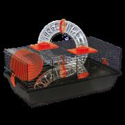 Клетка для грызунов Либор черная с оранжевыми аксессуарами 50,5*28*21см Small Animals