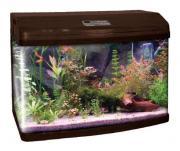 Аквариум для рыб Jebo R 390, бесшовный, с изогнутым стеклом, темное дерево, 193 л