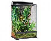 Exo Terra террариум из силикатного стекла с дверцами, покровной сеткой и декоративным фоном, 60x45x90 см