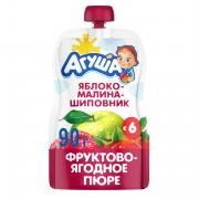 Пюре фруктовое Агуша Яблоко, малина, шиповник с 6 мес 90 г