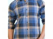 MULTIBRAND Мужская рубашка синяя в клетку приталенная MAZZARO SLIM FIT M2211-1