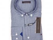 Мужская рубашка синяя в клетку приталенная TOMMY HILFIGER SLIM FIT TH3008