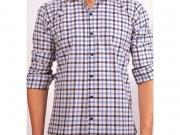 MULTIBRAND Мужская рубашка белая в клетку приталенная MAZZARO SLIM FIT M2211-6