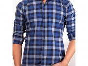 MULTIBRAND Мужская рубашка синяя в клетку приталенная MAZZARO SLIM FIT M2211-7